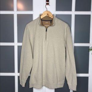 EUC Men's sz L, 1/4 Zip Pullover Tan Sweatshirt
